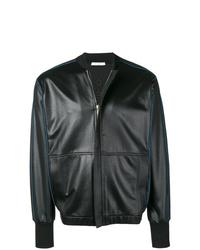 schwarze Leder Bomberjacke von Givenchy