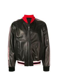 schwarze Leder Bomberjacke von Gucci