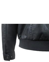 schwarze Leder Bomberjacke von John Devin
