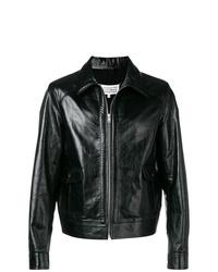 schwarze Leder Bomberjacke von Maison Margiela