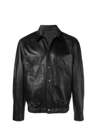 schwarze Leder Bomberjacke von Neil Barrett