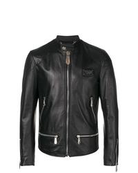 schwarze Leder Bomberjacke von Philipp Plein
