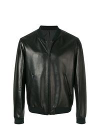 schwarze Leder Bomberjacke von Prada