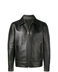schwarze Leder Bomberjacke von Salvatore Ferragamo