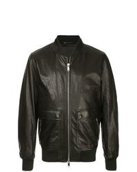 schwarze Leder Bomberjacke von Valentino