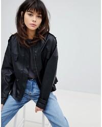 schwarze Leder Bomberjacke von Vero Moda