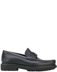 schwarze Leder Bootsschuhe von Salvatore Ferragamo