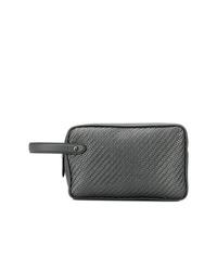 schwarze Leder Clutch Handtasche mit geometrischem Muster von Ermenegildo Zegna