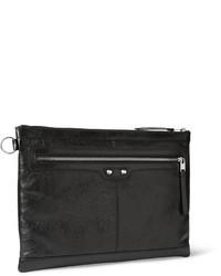 schwarze Leder Clutch Handtasche