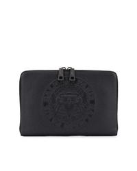 schwarze Leder Clutch Handtasche von Balmain