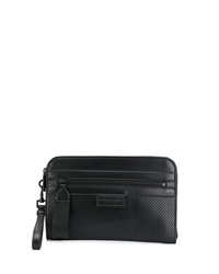 schwarze Leder Clutch Handtasche von Bottega Veneta