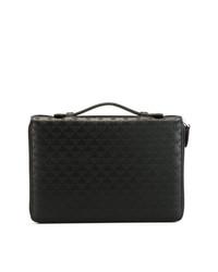 schwarze Leder Clutch Handtasche von Emporio Armani