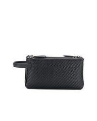 schwarze Leder Clutch Handtasche von Ermenegildo Zegna