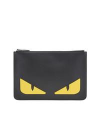 schwarze Leder Clutch Handtasche von Fendi