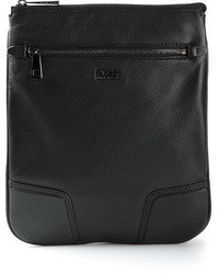 schwarze Leder Clutch Handtasche von Hugo Boss