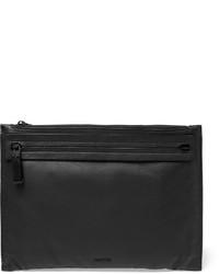 schwarze Leder Clutch Handtasche von Lanvin