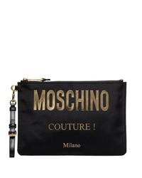 schwarze Leder Clutch Handtasche von Moschino