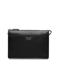 schwarze Leder Clutch Handtasche von Prada