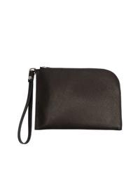 schwarze Leder Clutch Handtasche von Rick Owens