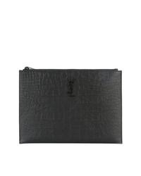 schwarze Leder Clutch Handtasche von Saint Laurent