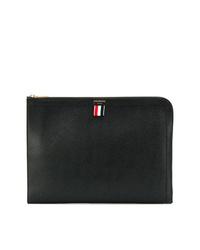 schwarze Leder Clutch Handtasche von Thom Browne