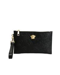 schwarze Leder Clutch Handtasche von Versace