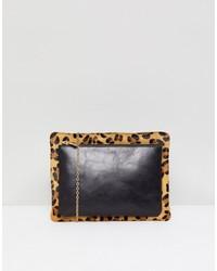schwarze Leder Clutch mit Leopardenmuster von Urbancode
