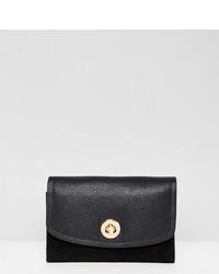 schwarze Leder Clutch von Accessorize