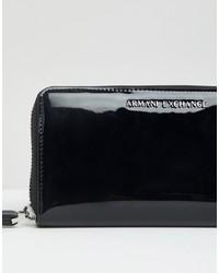schwarze Leder Clutch von Armani Exchange