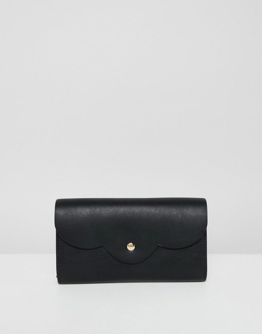 schwarze Leder Clutch von ASOS DESIGN