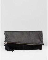 Schwarze Leder Clutch von Asos