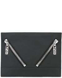 schwarze Leder Clutch von Kenzo