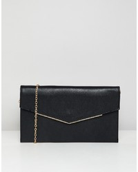 schwarze Leder Clutch von New Look