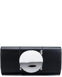 Schwarze Leder Clutch von Perrin Paris