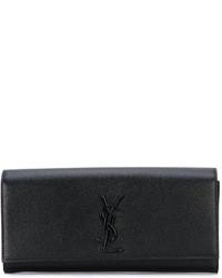 schwarze Leder Clutch von Saint Laurent