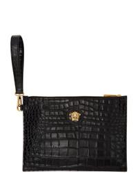 schwarze Leder Clutch von Versace