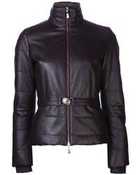 schwarze Leder Daunenjacke von Versace