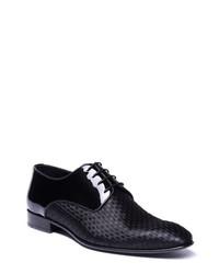 schwarze Leder Derby Schuhe mit Karomuster