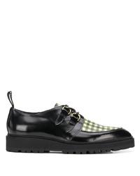 schwarze Leder Derby Schuhe mit Karomuster von Moschino