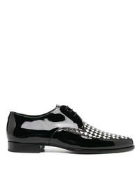 schwarze Leder Derby Schuhe mit Karomuster von Saint Laurent