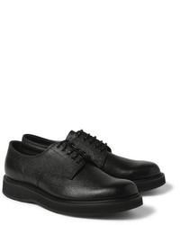 schwarze Leder Derby Schuhe