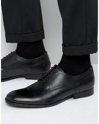 Schwarze Leder Derby Schuhe von Base London