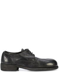 schwarze Leder Derby Schuhe von Guidi