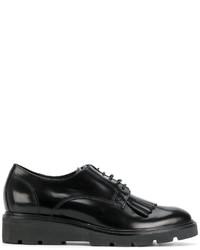 schwarze Leder Derby Schuhe von P.A.R.O.S.H.