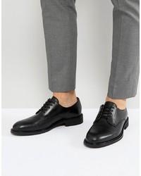 schwarze Leder Derby Schuhe von Selected Homme