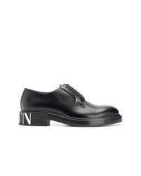 schwarze Leder Derby Schuhe von Valentino