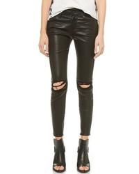 schwarze enge Jeans aus Leder mit Destroyed-Effekten von RtA