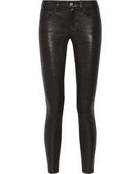 schwarze Leder enge Jeans