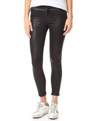 Schwarze Leder Enge Jeans von A Gold E