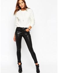 schwarze enge Jeans aus Leder von Asos